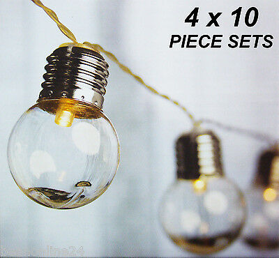4 x 10 Piece Premium LED Solar Clear Globe Festoon String Light Kit