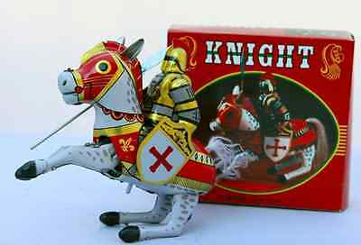 Tin Toy Knight on Horse Retro Style Wind Up Collectible