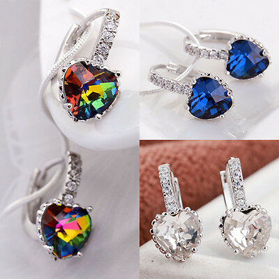 Women Fashion 925 Sterling Silver Rhinestone stud Hoop Earrings Jewelry Wedding