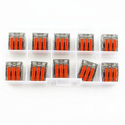 10X Wago type wire connector 3 Pole Terminal Block CAGE CLAMP 222-413 BOX