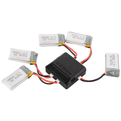 Charger + 5pcs 4pcs 3.7V 25C 250mAh 300mAh Lipo Battery for Hubsan H107L Drone