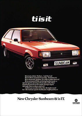 SUNBEAM Ti CHRYSLER SPORTS RETRO A3 POSTER PRINT FROM CLASSIC 70's ADVERT