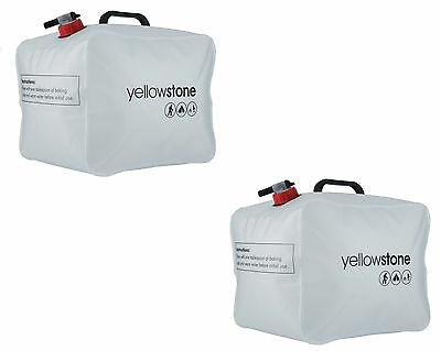 2X Yellowstone 15L Pack Away Water Carrier Flat 15 Litre Leak Proof Bottle Pouch