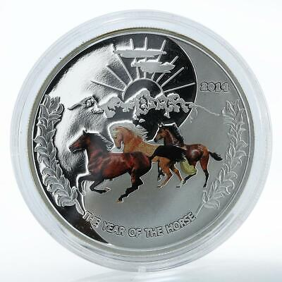 Tokelau $1 Year of the Horse Trio of horses Silver Coloured coin 2014