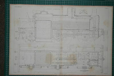 1860 Large Locomotive Print ~ Kitson's Engine Elevation & Plan