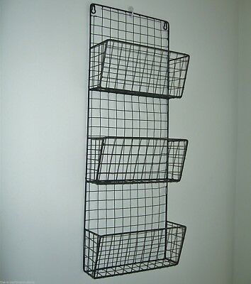 Metal Wire Magazine Letter Rack Wall Unit Vintage Industrial Basket Style NEW