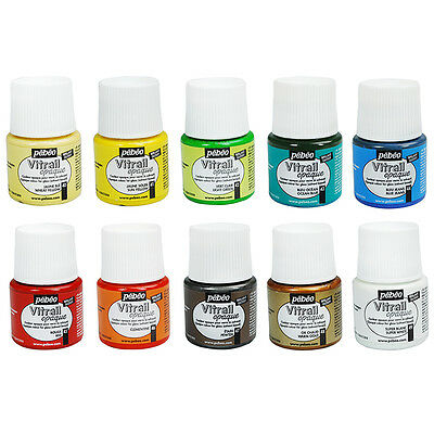 Pebeo 10 vitrail glass paints 45ml workbox and for Pebeo vitrea 160 glass paint instructions