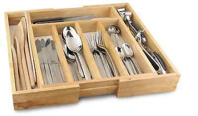 Cutlery Drawer Utensil Holder Organizer Tray Wooden Kitchen Expandable to 58cm