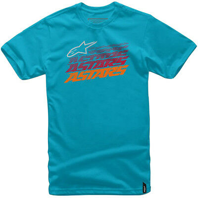 Alpinestars Casual Hashed Tee Shirt T-Shirt Cotton Turquoise