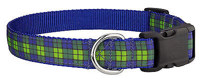 Country Brook Design® Deluxe Blue and Green Plaid Ribbon Dog Collar