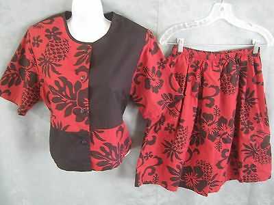 80's Islandwear by Lidan Crop Top & High Waist Flowy Shorts Size Large NWOT