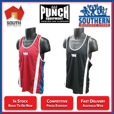 PUNCH EQUIPMENT Competition Singlet 610PSG - Red or Black in S M L XL