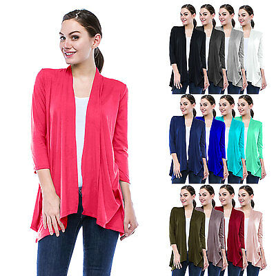 Womens Lightweight 3/4 Sleeve Open Front Cardigan-Made in USA (S-5X) Plus size