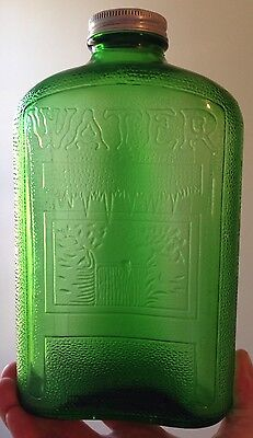 1930s - 1950s GREEN REFRIGERATOR WATER BOTTLE with CAP, 1 QUART, OWENS, VINTAGE