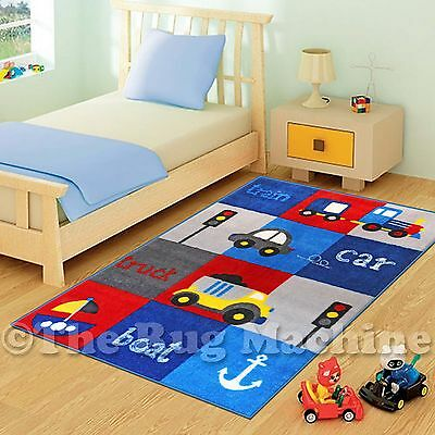COOL BOYS CAR BOAT TRAIN KIDS FUN PLAY RUG 100x150cm NON-SLIP WASHABLE **NEW**