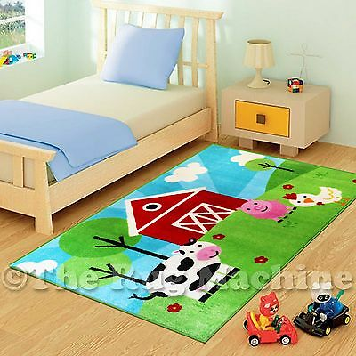 COOL FARMWARD ANIMALS KIDS FUN PLAY RUG 100X150cm NON-SLIP & WASHABLE **NEW**