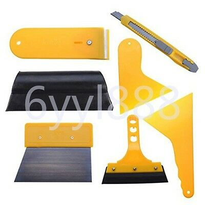7Pcs Car Auto Window Scraper Wrapping Tint Vinyl Film Squeegee Cleaning Tool Kit