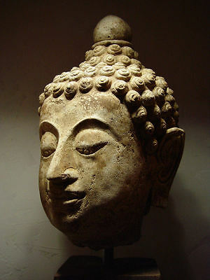 ANTIQUE AYUTTHAYA PERIOD LIFESIZE STUCCO HEAD OF BUDDHA 14/15th C MUSEUM QUALITY • CAD $15,614.78