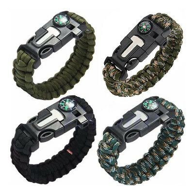 Paracord Survival Bracelet Compass Flint Fire Starter Whistle Camping Gear Kits