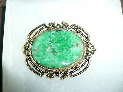 "1960's Carved Cameo Faux Jade Floral Brooch/Pendant 2-3/8""x 1-7/8"""