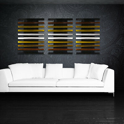 Metal Wall Sculpture Art Panels Modern Abstract Neutral Gold Painting Home Decor