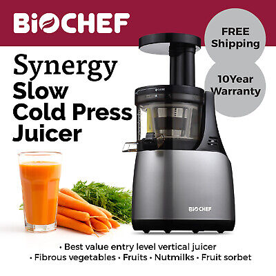 BioChef Synergy Slow Juicer / Cold Press Juicer / Juice Extractor Silver