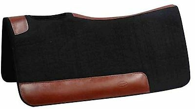 "Showman 32"" X 31"" Contoured Black Felt Saddle Pad with Leather Reinforced Back"