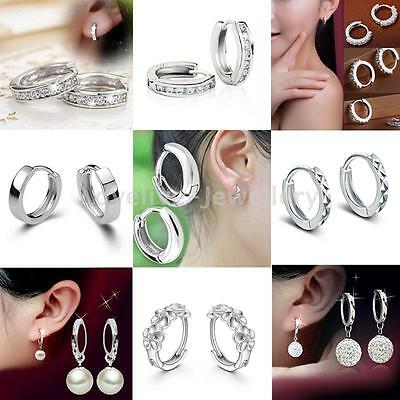 Fashion Women Jewelry 925 Sterling Silver Shiny CZ Crystal Pearl Hoop Earrings