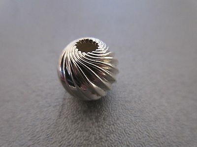 Sterling Silver Round Corrugated Wider Size Hole Bead Spacer 10mm 1pc