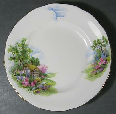 Vintage 'Royal Mayfair' bone china plate cottage/stream motif England