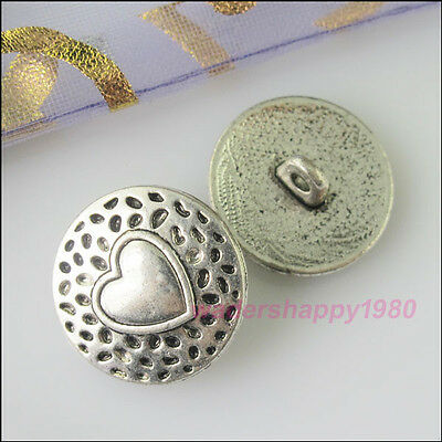 10Pcs New Tibetan Silver Tone Heart Pattern Decorative Metal Buttons Charms 18mm