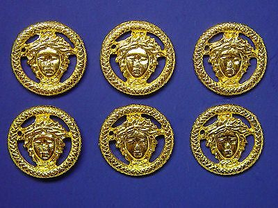 """6 Shiny Gold Tone Medusa Metal Buttons Set, All 3/4"""" Attractive, Mint Condition"""