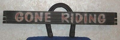 GONE RIDING METAL HORSESHOE & WOOD SIGN Country Western Horse Hanging Wall Sign