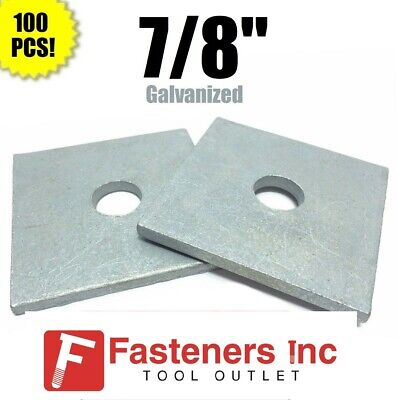 Qty-100 Beveled Square Washers Hot Dipped Galvanized 7//8