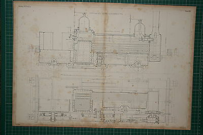 1855 Large Locomotive Print ~ Sinclair's Tank Longitudinal Section Plan Engine