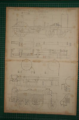 1855 Large Locomotive Print ~ Passenger Robert Stephenson Elevation Plan