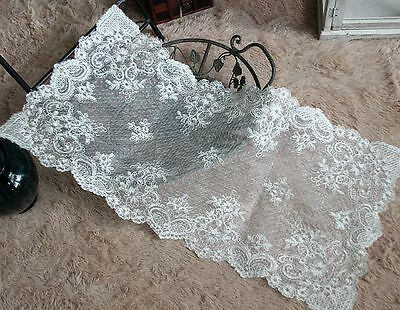 Beautiful Flower Embroidery White Double Layer Sheer Wedding Table Runner A CL