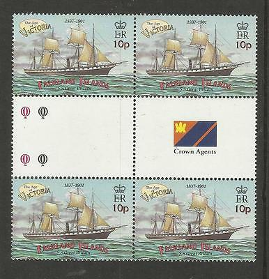FALKLAND ISLANDS 2001 SS GREAT BRITAIN SHIP GUTTER BLOCK of 4 MNH