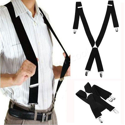 Heavy Duty Unisex MEN BRACES BLACK SUSPENDER ELASTIC 35mm WIDE Durable Trouser