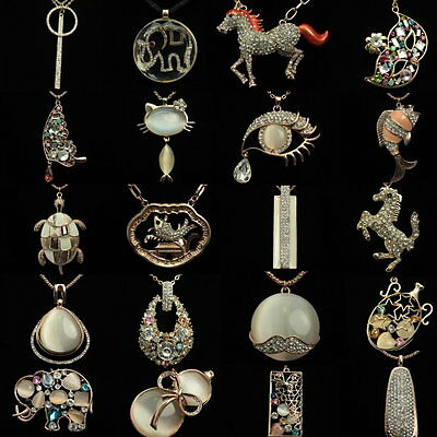 wholesale 90 pcs clear crystal animals horse pendant gold sweater necklace F100