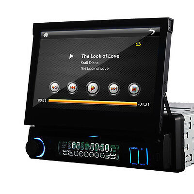 "IN DASH 7"" Touch Screen 1 DIN Car DVD Player Non-GPS Nav Radio Bluetooth Stereo"