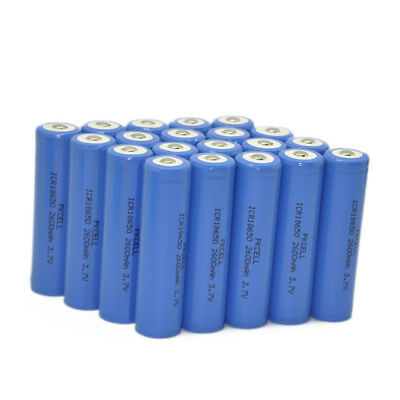 24Pack 18650 Lithium Rechargeable Battery 2600mAh Button Top 3.7V For Flashlight