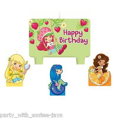 Strawberry Shortcake Candles - Birthday - Moulded - Aust Seller - Fast Shipping