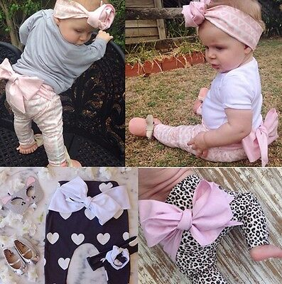 Baby Girl Child Toddler Kids Leggings Pants Big Bow Knot Trousers Leopard Photo