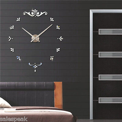 diy deko 3d stylisch design wanduhr wohnzimmer wanduhr spiegel wandtattoo eur 4 88 picclick de. Black Bedroom Furniture Sets. Home Design Ideas