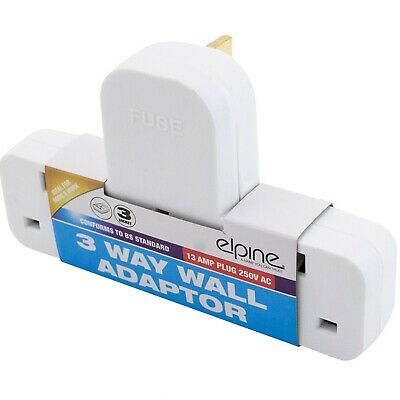 3 Way / 3 Gang Fused Plug Multi Socket Extension Adaptor Adapter