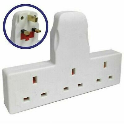 White 3 Way / 3 Gang Fused Plug Multi Socket Extension Wall Adaptor Adapter