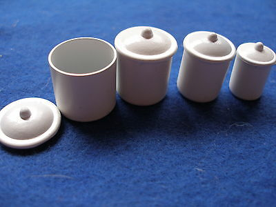 Dollhouse Miniature Food Cannisters For 1/12Th Scale Doll Kitchen-White Metal