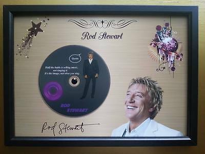 ROD STEWART Memorabilia CD Quote frame on a Gold background & Printed Autograph
