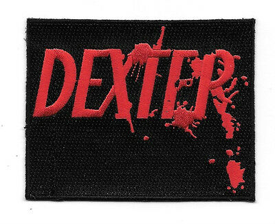 "Dexter TV Series Bloody Name Logo 4"" Wide Embroidered Patch NEW UNUSED"